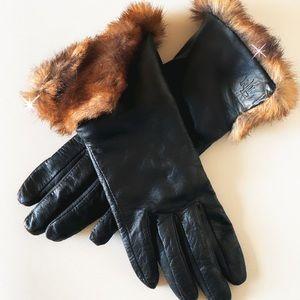 Lauren Ralph Lauren Faux Fur Leather Gloves